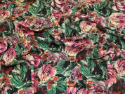 Lady McElroy Floral Viscose Crepe Fabric  Multicoloured