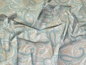 Lady McElroy Paisley Cotton Poplin Fabric  Pastel Blue