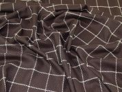 Lady McElroy Check Wool Coating Fabric  Brown