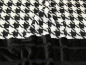 Lady McElroy Fur Border Houndstooth Coating Fabric  Black & Grey