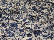 Lady McElroy Viscose Stretch Crepe Fabric  Cream & Blue