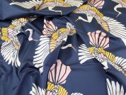 Lady McElroy Stretch Cotton Sateen Fabric  Blue
