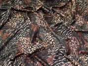 Lady McElroy Floral Scuba Knit Fabric  Black & Brown