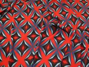 Lady McElroy Stretch Suiting Fabric  Red & Navy