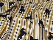 Lady McElroy Stretch Cotton Twill Fabric  Gold & Navy