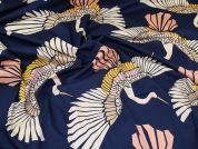 Lady McElroy Stretch Cotton Twill Fabric  Navy Blue