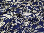 Lady McElroy Stretch Viscose Crepe Fabric  Deep Blue