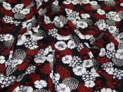 Lady McElroy Stretch Viscose Crepe Fabric  Red & Navy