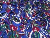 Lady McElroy Silky Satin Fabric  Blue Multi