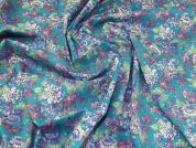 Lady McElroy Stretch Cotton Fabric  Turquoise