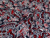 Lady McElroy Viscose Jersey Fabric  Navy Red White