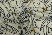 Lady McElroy Marlie Cotton Lawn Fabric  Navy on Cream