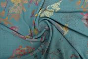 Lady McElroy Stretch Bubble Crepe Fabric  Turquoise