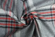 Lady McElroy Wool Coating Fabric  Grey & Red