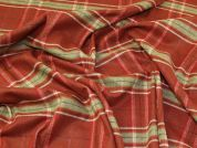 Lady McElroy Check Wool Coating Fabric  Burnt Orange