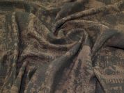 Lady McElroy Architectural Print Boiled Wool Fabric  Brown