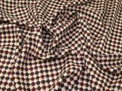 100% Wool Diamond Tweed Dress Fabric  Wine
