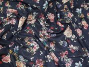 Lady McElroy Midnight Bouquet  Cotton & Linen Single Gauze Dress Fabric  Multi