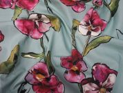 Lady McElroy Aqua Orchid Cotton Poplin Dress Fabric