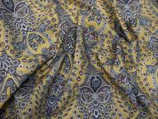 Lady McElroy Chatsworth Paisley Cotton Lawn Dress Fabric  Old Gold