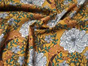 Lady McElroy Ochre Vine Cotton Lawn Dress Fabric