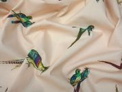 Lady McElroy Parakeets Cotton Poplin Dress Fabric