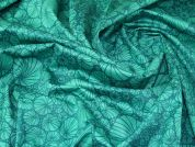 Lady McElroy Floral Cotton Twill Fabric  Jade Green