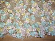 Louise Dimensional Flowers Couture Bridal Lace Fabric  Pink, Aqua & Lemon