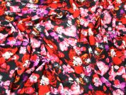 Flower Print Stretch Jersey Dress Fabric  Pink & Red