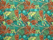 Digital Print Cotton Fabric  Green & Orange