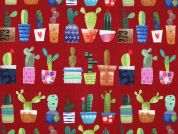 Tulum Digital Print 100% Cotton Dress Fabric  Deep Red