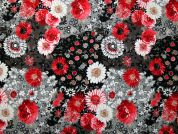Jasmine Digital Print 100% Cotton Dress Fabric  Red & Grey