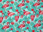 Flamant Digital Print 100% Cotton Dress Fabric  Mint & Pink