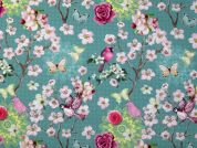 Tory Digital Print 100% Cotton Dress Fabric  Aqua