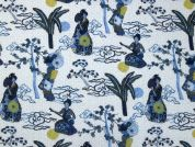 Geiko Digital Print 100% Cotton Dress Fabric  Blue & Ivory