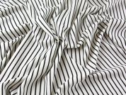 Spanish Thick n Thin Stripe Stretch Crepe Dress Fabric  Black & Ivory