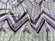 Chevron Border Print Georgette Dress Fabric  Lilac, Peach & Green