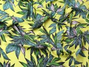 Large Leaves Print Viscose Dress Fabric  Yellow & Green