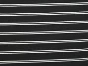 Stripe Print Polyester Georgette Dress Fabric  Black & White