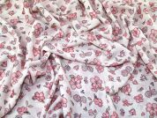 Floral Print Polyester Georgette Dress Fabric  Cream & Pink