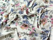 Floral Print Viscose Challis Dress Fabric  Ivory, Blue & PInk