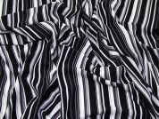 Stripe Print Stretch Crepe Dress Fabric  Black & White