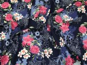 Floral Print Polyester Georgette Dress Fabric  Multicoloured