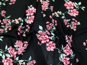 Floral Print Polyester Georgette Dress Fabric  Black & Pink