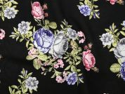 Floral Print Polyester Georgette Dress Fabric  Multi on Black