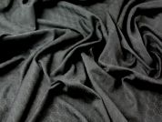 Woven Patterned Stretch Sateen Suiting Dress Fabric  Black