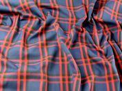 Plaid Check Polyester & Viscose Tartan Suiting Dress Fabric  Navy, Red & Black
