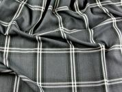 Plaid Check Polyester & Viscose Tartan Suiting Dress Fabric  Grey