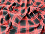 Plaid Check Polyester & Viscose Tartan Suiting Dress Fabric  Black, Red & Grey