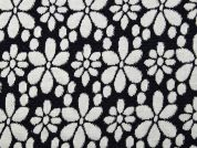 Floral Jacquard Stretch Jersey Knit Dress Fabric  Navy & Ivory